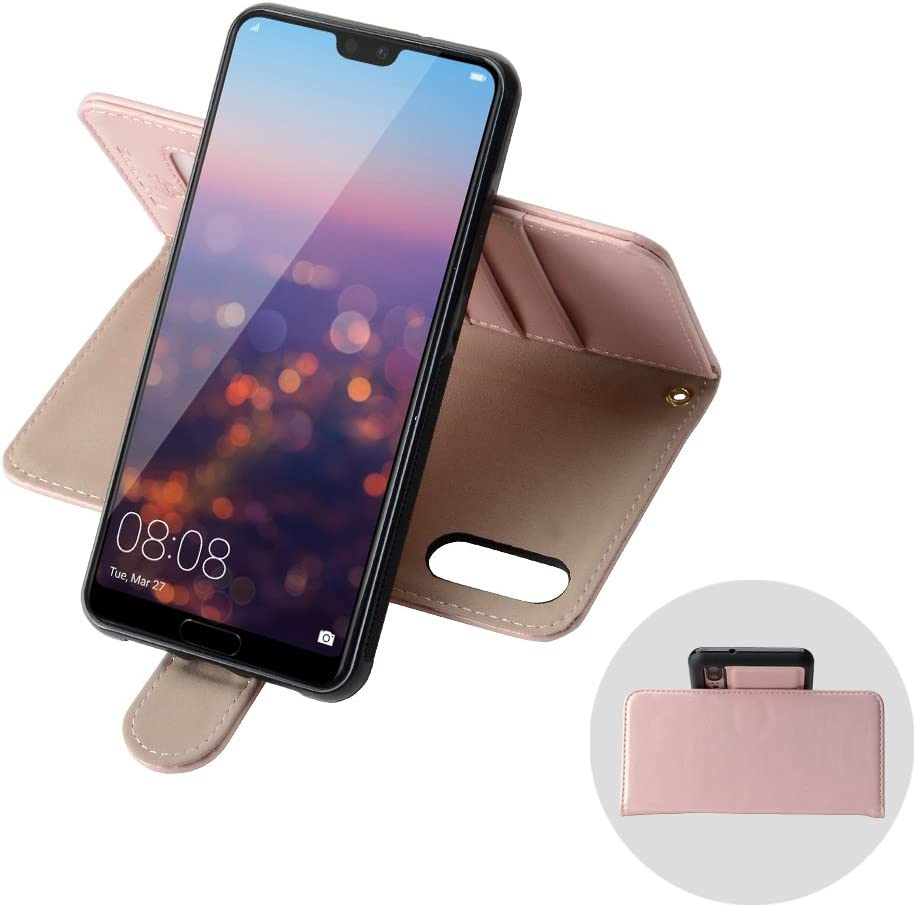 Huawei P20 Pro Case-SHANSHUI Credit Card Holder RFID Protection Detachable Premium PU Leather Magnetic Flip Cash Wallet Gift Box Wrist Strap Rose Gold