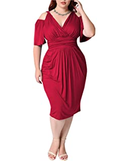 b576c64f3e Amazon.com  Goddessvan Women s Plus Size Dresses-Summer V-Neck Solid ...