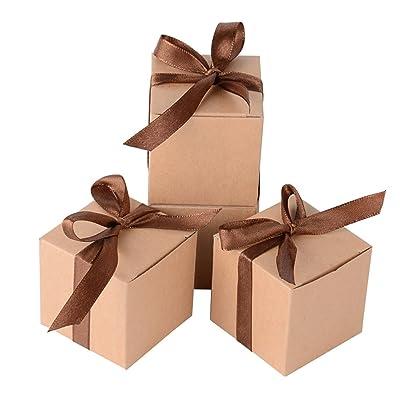 100 x Cajas de Caramelo Dulce Bombones para Bautizo Boda 5 * 5 * 5cm Regalos Recuerdos para Invitados de Fiesta (Marrón): Hogar