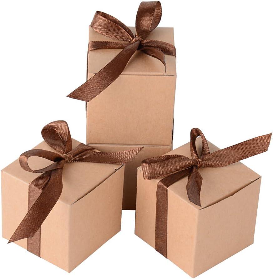 100 x Cajas de Caramelo Dulce Bombones para Bautizo Boda 5 * 5 * 5cm Regalos Recuerdos para Invitados de Fiesta (Marrón)