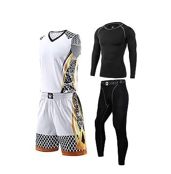 78a55460826b9 Maillot De Basket Basketball Jersey Uniform T-Shirt Compression Fitness  VêTements Set pour Enfant Adulte
