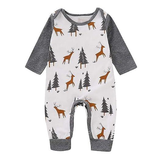 1b60f83dfbc1 Baby Boys Girls Jumpsuits Infant Christmas Long Sleeve Fawn Print Jumpsuit  Romper