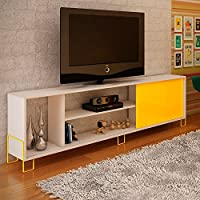 Manhattan Comfort Nacka 1.0 Series 71 TV Stand in White and Yellow