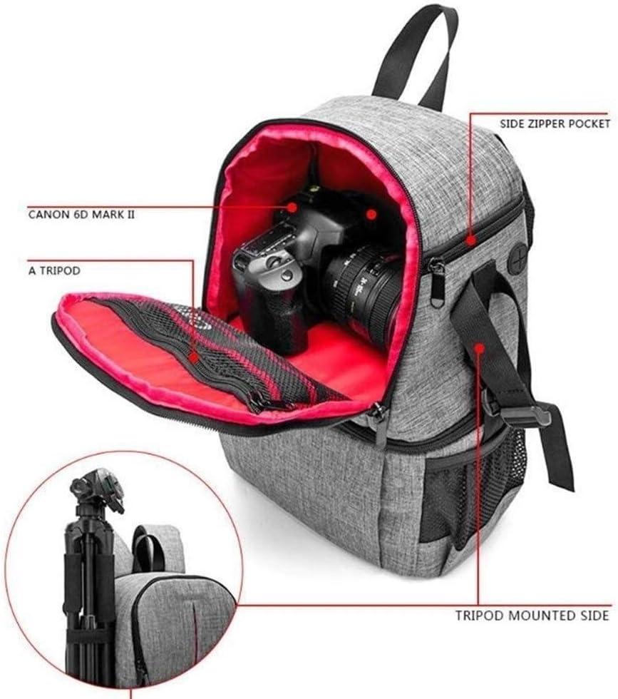 Saalising Photo Camera Bag DSLR Video Waterprpof Oxford Fabric Soft Padded Shoulders Backpack SLR Bag Case for Digital Camera Lens Tripod Color : Gray