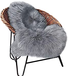 XINYUKEJIk Faux Fur Sheepskin Area Rug, Super Soft Chair Cover Seat Cushion for Couch, Living Room/Bedroom Decor New Non-Slip Carpet(Gray, 2x3 Foot)