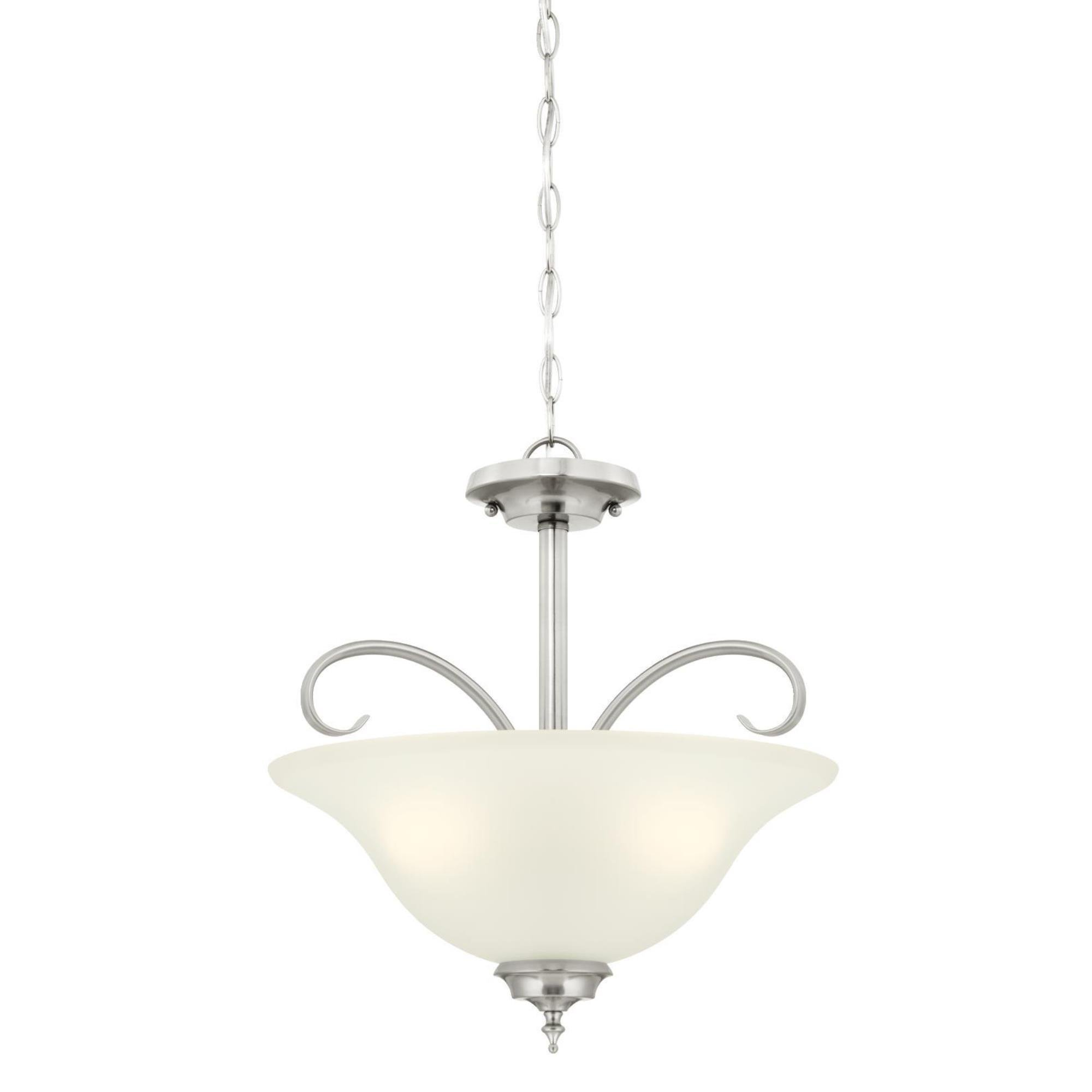 Westinghouse 6305400 Harwell Three-Light Indoor Convertible Pendant/Semi-Flush Ceiling Fixture, Brushed Nickel Finish with Frosted Glass