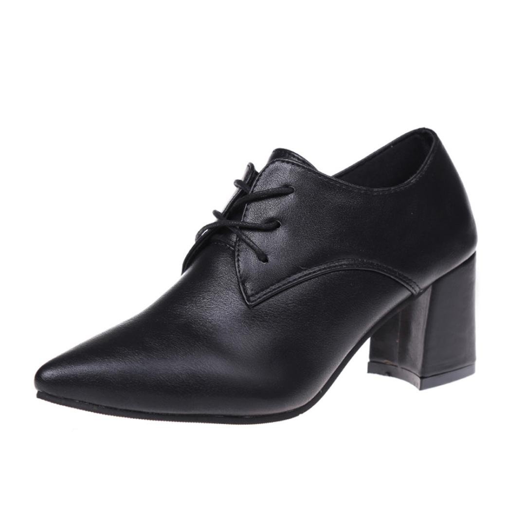Pumps Pointed Toe Damen Ankle Biker Stiefel Lace-Up Heels Schuhe Block Ferse SOMESUN Schuhe Shoes 201737 EU Schwarz