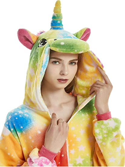 23854ad3 QQonsie Adult Onesies for Women Unicorn Pajamas Men Teen Girl Halloween  Costumes