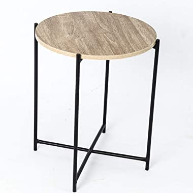 C-Hopetree Coffee Table Small Round Occasional Side Table for Living Room Industrial Style Vintage Wood Look Metal Frame