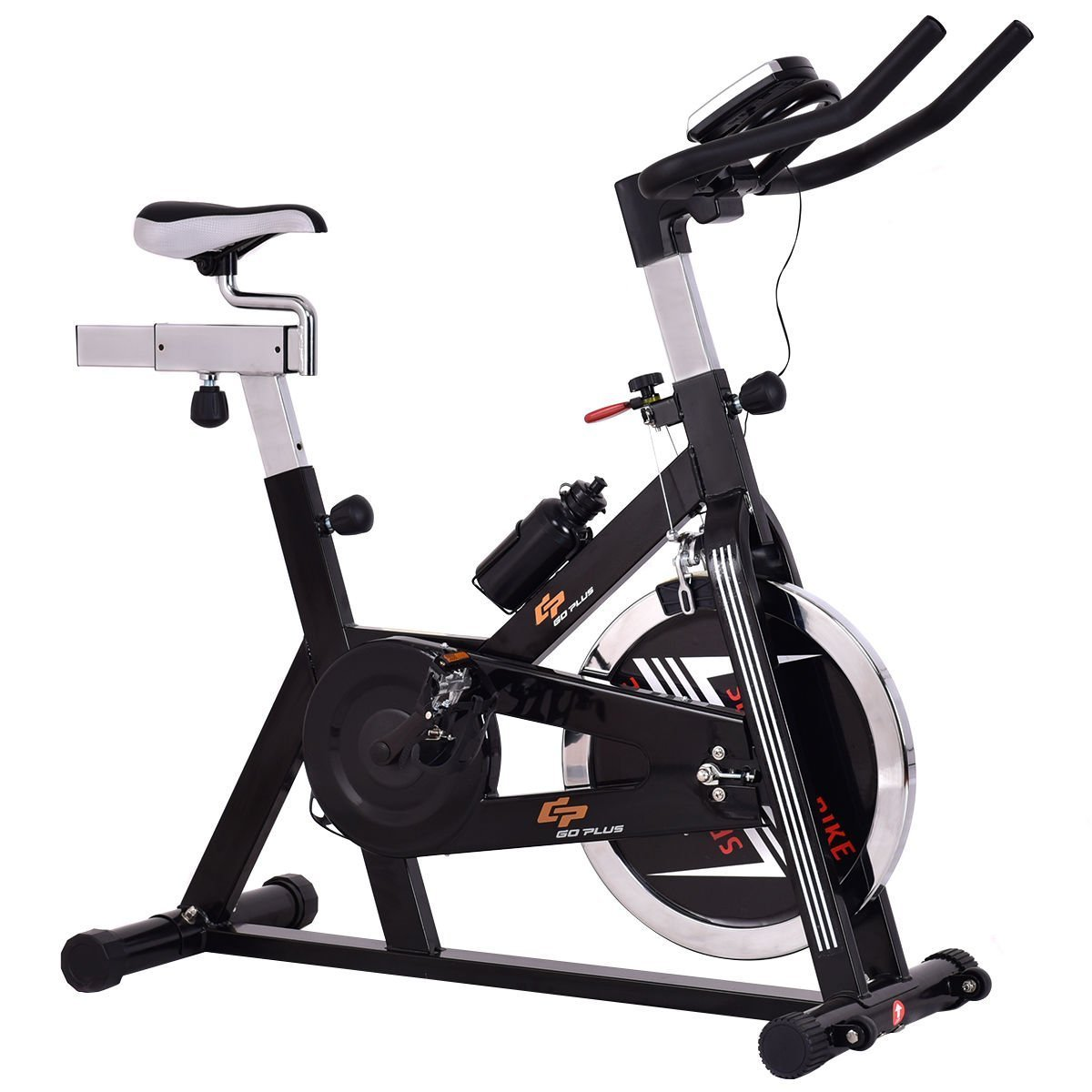 Gymax Stationary Exercise Bike w/ Adjustable Seat and Handlebars, Indoor Cycling Bike Cardio Fitness Home Gym Equipment by Gymax (Image #2)