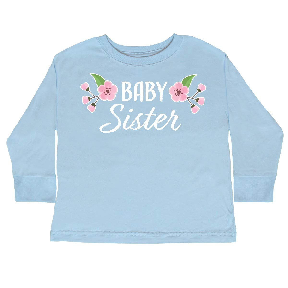 inktastic Baby Sister with Cherry Blossom Flowers Toddler Long Sleeve T-Shirt