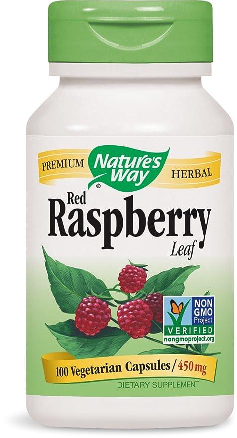 Natures Way Rojo Hojas De Frambuesa , 450 mg (100 Cápsulas)