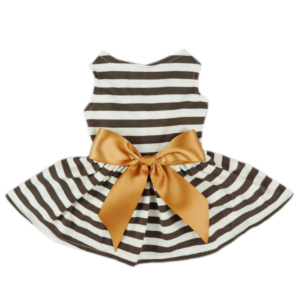 Fitwarm Comfy Cotton Striped Pet Dress Casual Holiday Dog Shirts Clothes Apparel, X-small