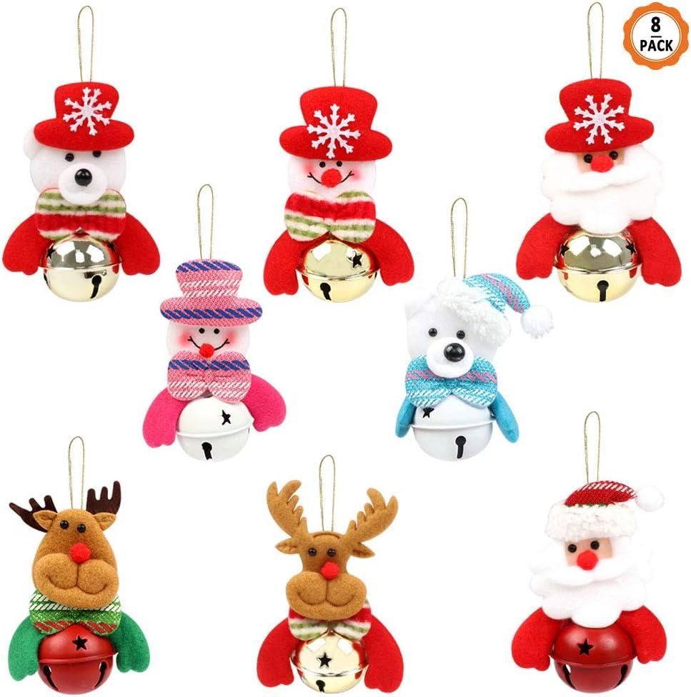 Kulannder 8 PCS Christmas Tree Decorations, Christmas Hanging Bells Santa Snowman Reindeer Bear Decorations Jingle Bells Ornament Christmas Plush Doll Bells Party Decor Gifts