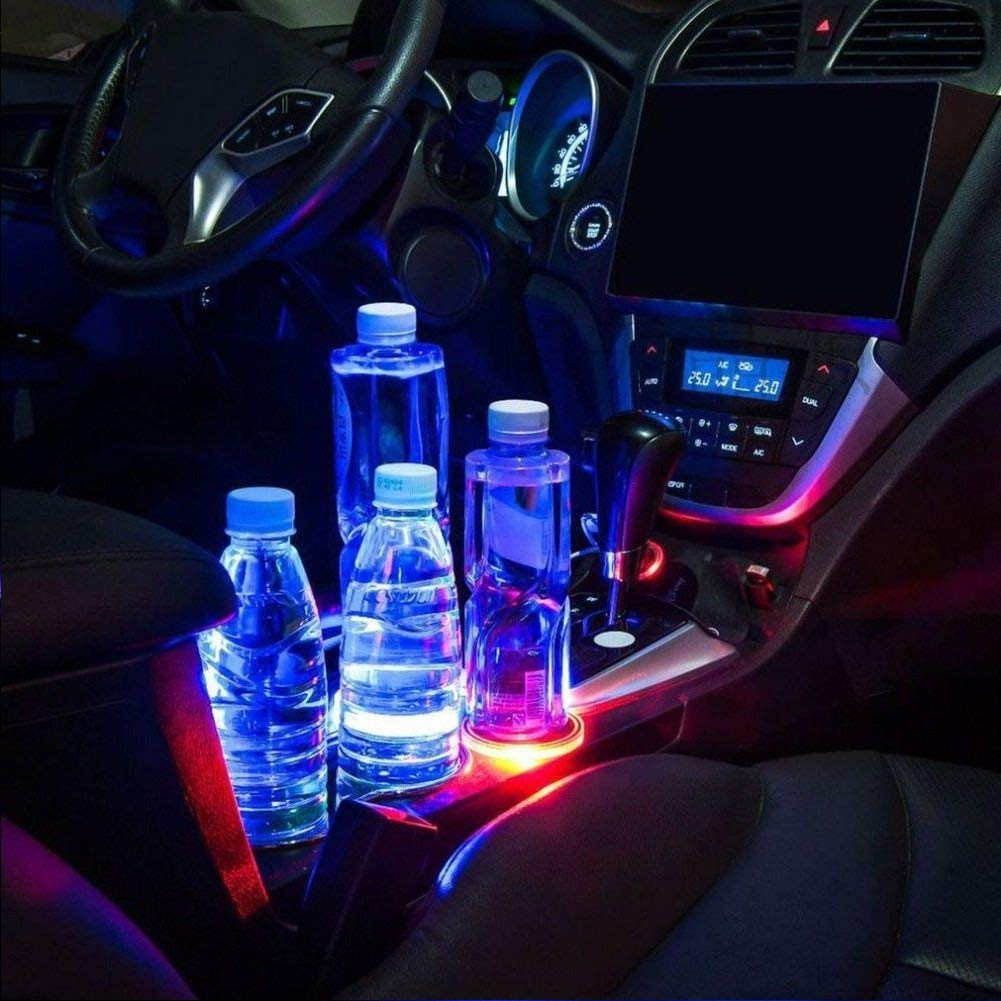 Liamostee Universal Car Solar LED Getr/änkehalter Pad Anti Slip Bottle Coaster Matte Car Styling