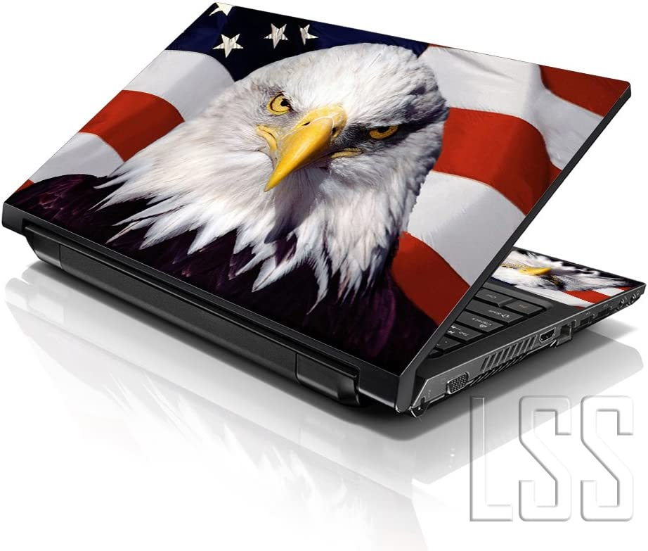 "LSS 15 15.6 inch Laptop Notebook Skin Sticker Cover Art Decal Fits 13.3"" 14"" 15.6"" 16"" HP Dell Lenovo Apple Asus Acer Compaq (Free 2 Wrist Pad Included) USA Eagle"