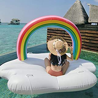 DSFGHE Piscina De Flotación,Fiesta En La Piscina Inflable De Juguete Rainbow Cloud, Balsa Flotante para Sala De Natación con Múltiples Cámaras De Inflado Independientes / 240X145X135CM