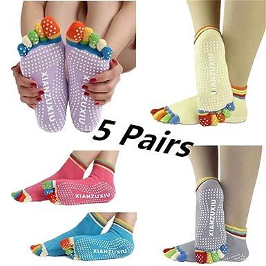 DOGZI Calcetines de deporte, Yoga Antideslizante Masaje Cinco dedos Calcetines Vistoso Gimnasio Calcetines del dedo del pie: Amazon.es: Ropa y accesorios