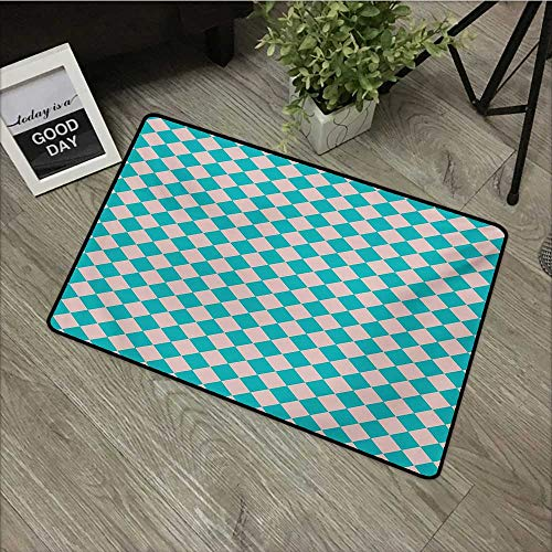 Children's mat W31 x L47 INCH Geometrical,Vintage Retro 50s 58s Inspired Kitchen Tiles in Diamond Shapes Print,Turquoise and Lilac Natural dye printing to protect your baby's skin Non-slip Door Mat Ca