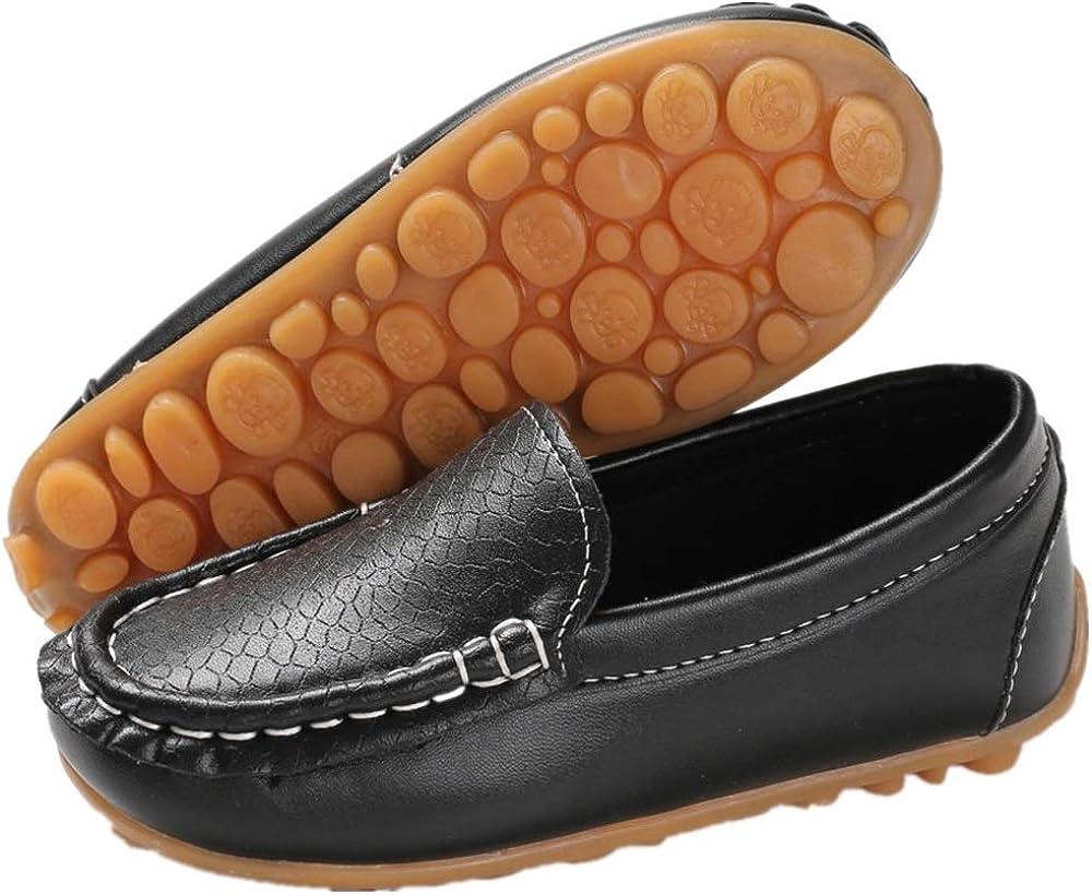 UBELLA Toddler Boys Girls Soft Split Leather Slip-On Loafer Boat Dress Shoes Black