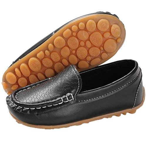 609ac432ee4 BENHERO Kids Boys Girls Loafers Slip on Soft Synthetic Leather Boat Dress  School Shoes Flat(