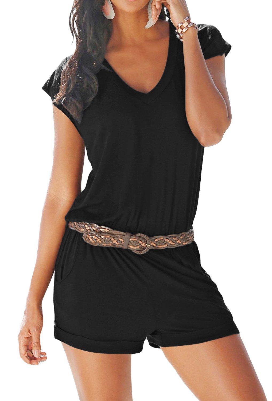 Yidarton Women's Casual Summer Sleeveless V-Neck Elegant High Waist Elastic Beach Pants Jumpsuit Rompers (Black, Large)