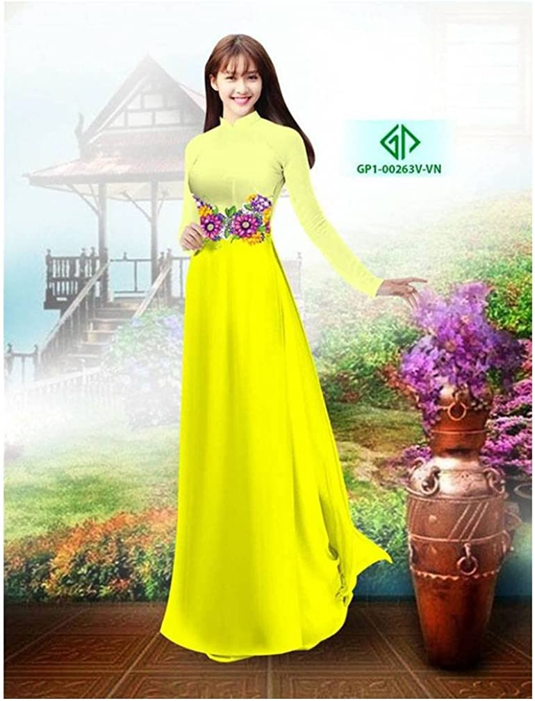 Ao Dai Silk 3D ADVN02185 Traditional Vietnamese Long Dress Collections with Pants
