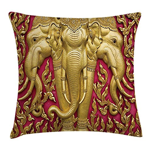 Queen Area Elephant Yellow Toned Elephant Motif on Door Thai Temple Spirituality Statue Classic Square Throw Pillow Covers Cushion Case for Sofa Bedroom Car 18x18 Inch, Fuchsia Mustard by Queen Area