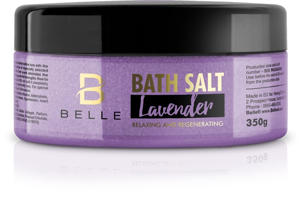 Belle® Lavender Aromatherapy Bath Salts with collagen for skin elasticity - eliminate stress and fatigue, restore energy and vital strengths - 350g