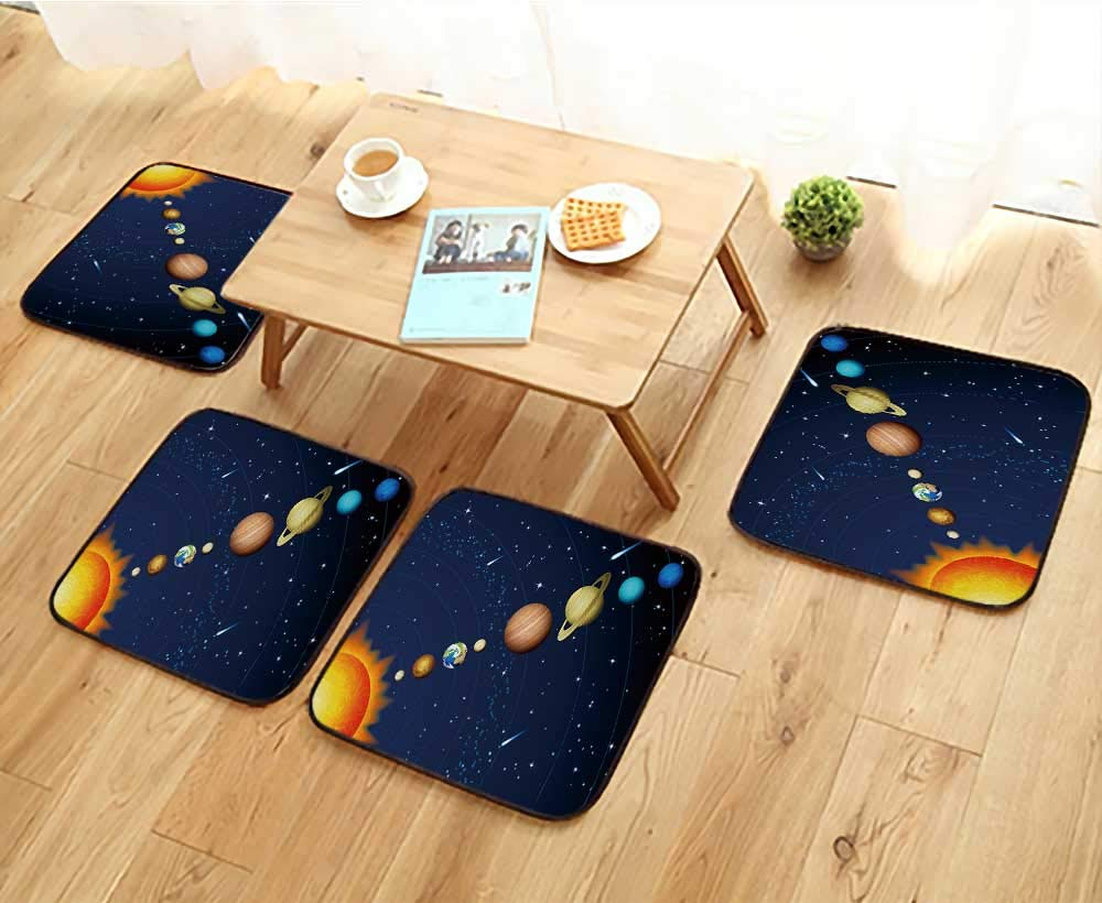 Jiahonghome Comfortable Chair Cushions Solar System Reuse can be Cleaned W17.5 x L17.5/4PCS Set