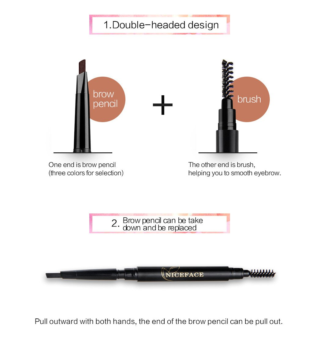 Eyebrow Pencil Duo Ended Brow Brush with 3 Colors Relplaceable Brow Pencil Waterproof Double-Headed Stylist Pencil,Black,Dark Brown,Light Brown (Black, Coffee, Gray)