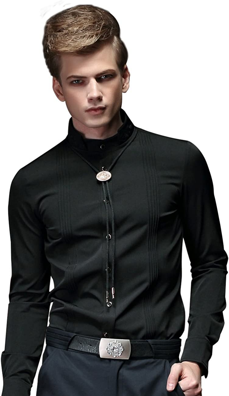 FANZHUAN Men Embroidery Banded Collar Slim Long Sleeve Shirt Solid Black