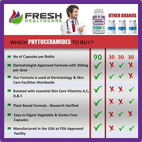 Best Phytoceramides for Skin Repair & Rejuvenation ✮ 30 & 90 Capsules ✮ Anti Aging Powerhouse for Reduced Fine Lines & Wrinkles with Added Skin Vitamins A,C,D & E by Fresh Healthcare