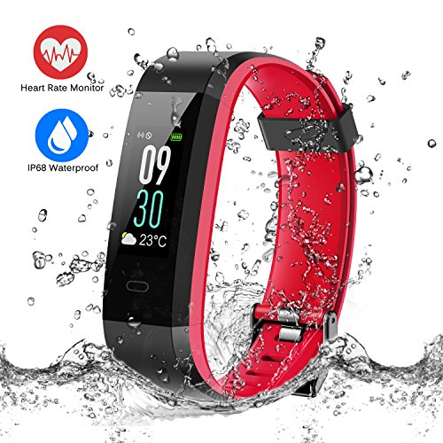 ESOLOM Fitness Tracker HR, Color Screen Activity Tracker with Heart Rate Monitor, IP68 Waterproof Wristband Sleep Monitor Pedometer with Calorie Counter, 14 Sport Modes Smart Watch for Men Women Kids by ESOLOM