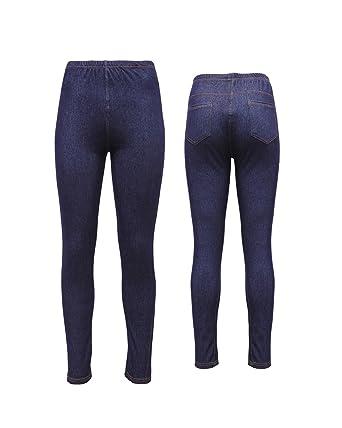 5834190b234 New Ladies Pack OF 2 Womens Ladies Denim Look Skinny Slim Stretchy Jeggings  Leggings with Elasticated Waist and 2 Back Pockets in Plus Size UK 8-26  ...