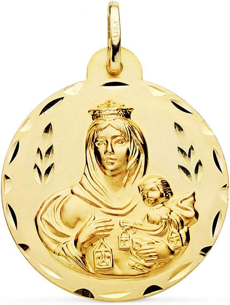 Medalla Nuestra Señora del Carmen. Colgante Virgen. Oro 18 Kilates Tallado 28mm - Grabado personalizado