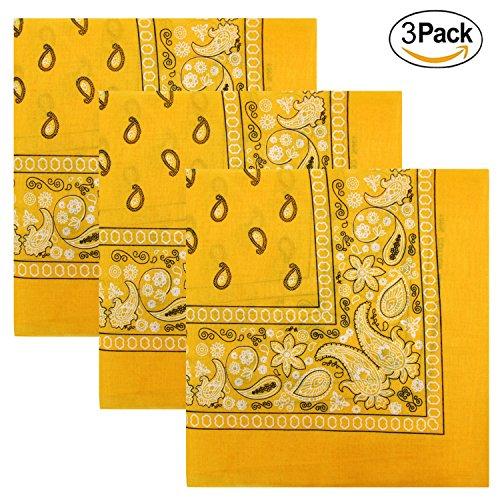 3 PK Cowboy Bandanas 100% Cotton 22 x 22 inch - Gold -