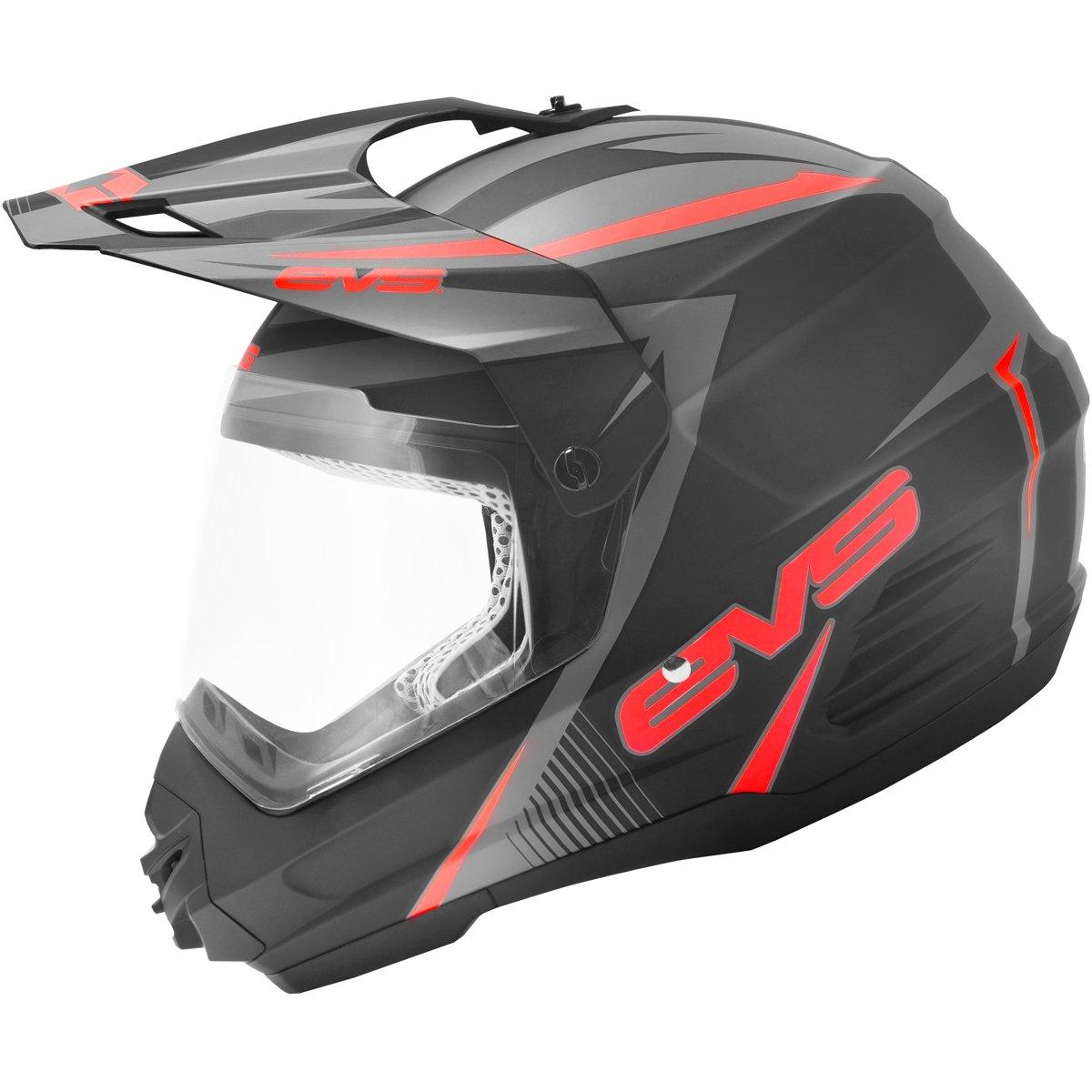 EVS T5 Venture Dual Sport Adult Dirt Bike Motorcycle Helmet - Matte Black/Red / Large