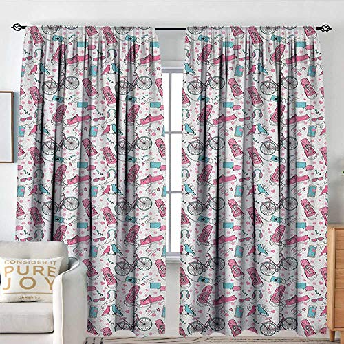 - Bicycle Indoor/Outdoor Single Panel Print Window Curtain Teenager Girls Hipster Pink Casual Shoes Bicycle Birds Headphones Glasses Camera Decorative Curtains for Living Room W 84