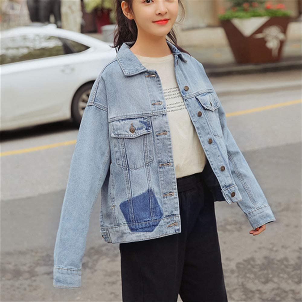 Womens Classic Casual Vintage BF Denim Jean Jacket Stretch Long Sleeve Coat