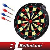 BETTERLINE Soft Tip Dart Board Game Set - 15 inch Board (37.5cm) with 6 Darts - Child & Furniture Safe Dartboard for Kids & Adults