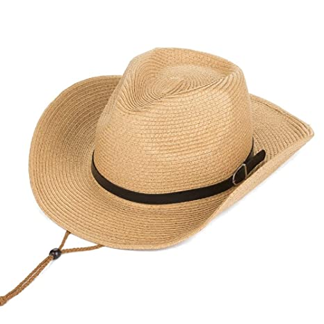 4955adeef6e2a5 Straw Cowboy Hat for Men/Women, Summer Wide Brim Sun Hat Breathable  Packable Boonie