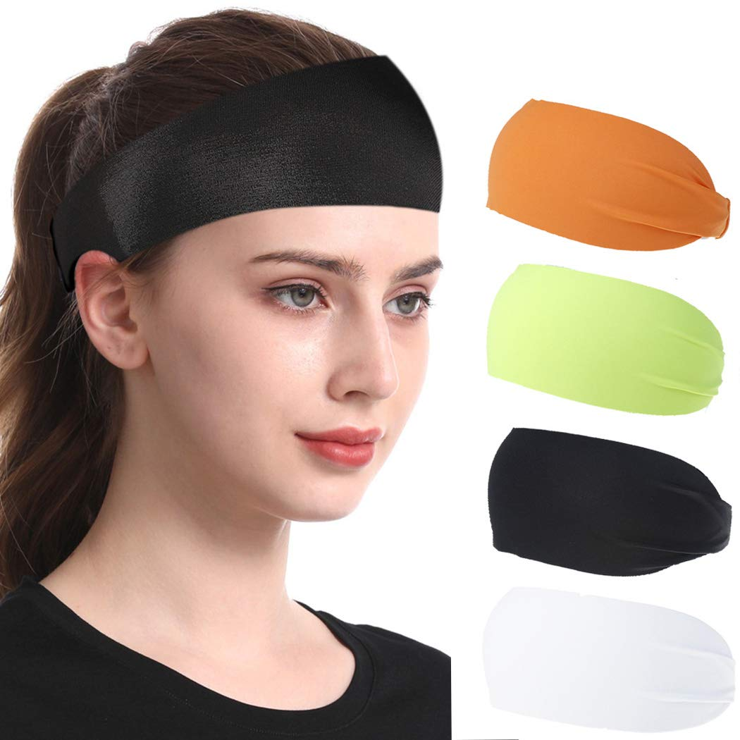 3 Pack Wide Hair Sweat Band for Running Yoga Gym Walking Cycling Workout Exercise Amocase Sports Headbands for Men//Women