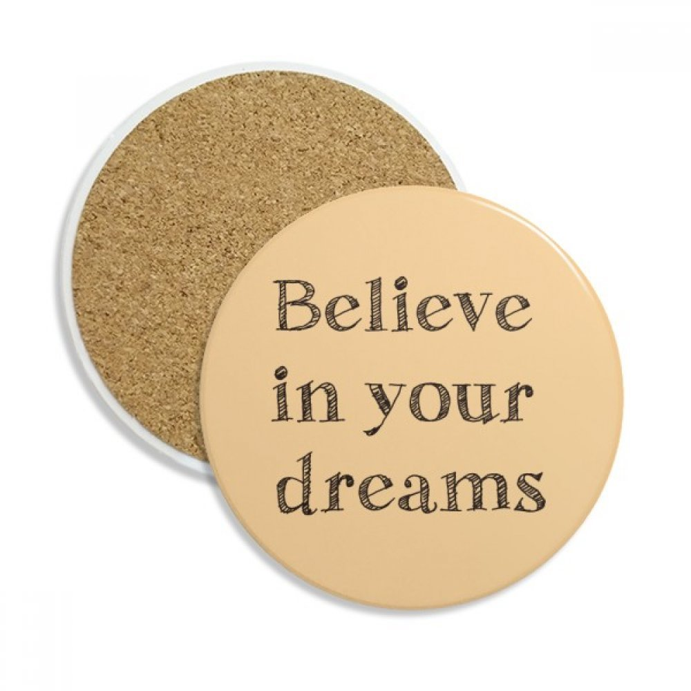 Believe in your dream inspirational stone Drink Ceramicsコースターマグカップギフト用2ピース   B0761RN4W9