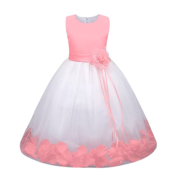 Amazon.com: Birdfly 6M - 7T Girls Flower Petals Formal Dress ...