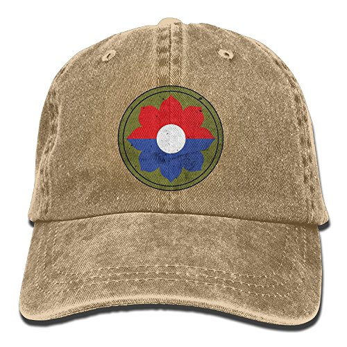 US Army Retro 9th Infantry Division Unisex Adjustable Cotton Denim Hat Washed Retro Gym Hat FS&DMhcap Cap Hat (9th Infantry Division)