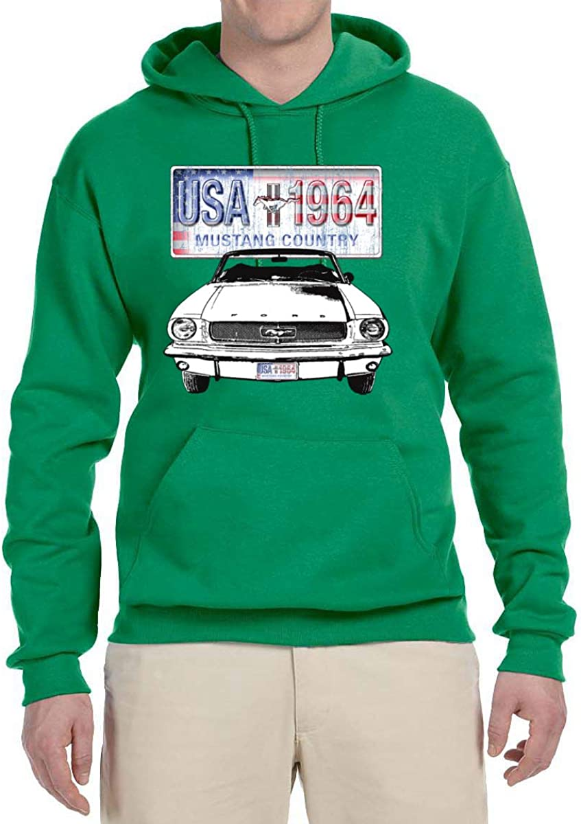 Mens Cars and Trucks Hooded Sweatshirt Graphic Hoodie Ford Mustang Country USA 1964 Vintage American License Plate