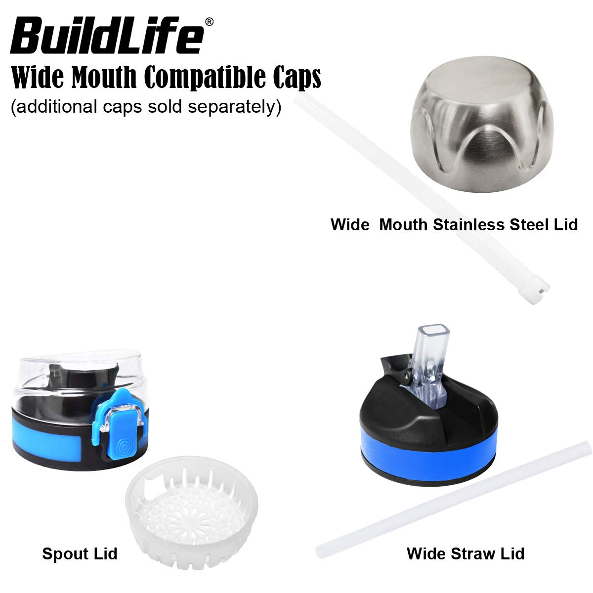 Push Button Lid Replacement Cap for Wide Mouth Sport and Travel Water Bottle-Compatible with Multiple Sizes BuildLife Gallon//73OZ//43OZ Water Bottle Lid