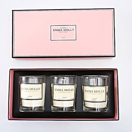 Aromaterapia Velas Aromáticas caja de Regalo Anfitrión 3 Velas Blancas en Fragancias Frescas, Florales y