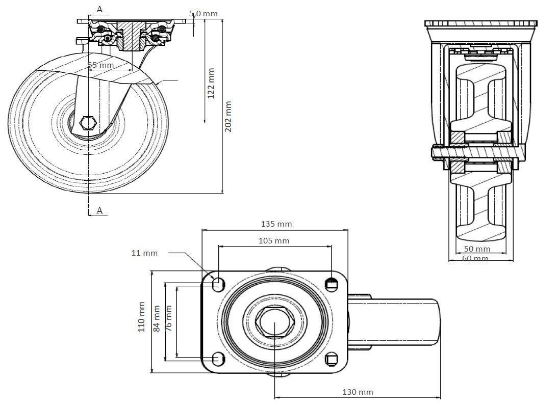 Lenkrolle 160 mm PolyamidSchwerlast